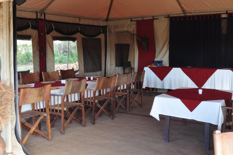inside dining tent
