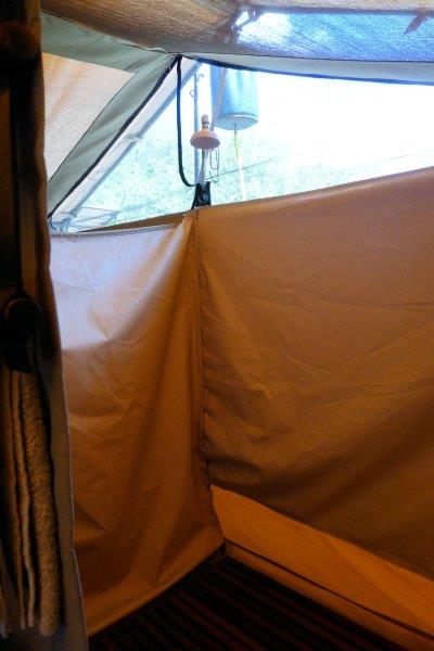 Shower set up inside the tent