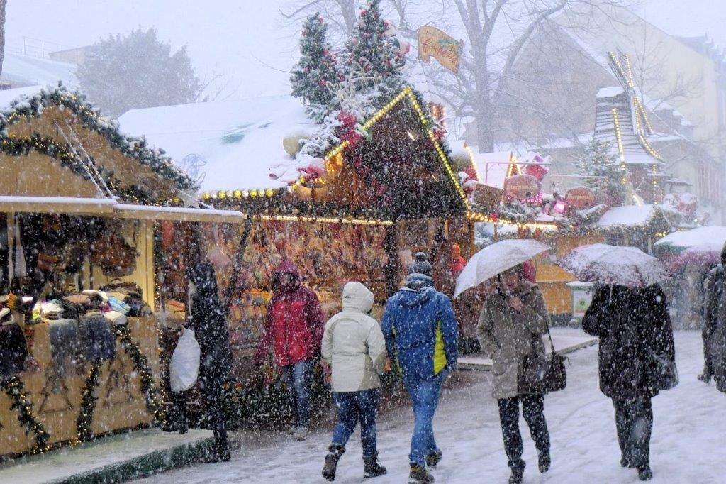 Snow at the Christmas Market in Heidelberg