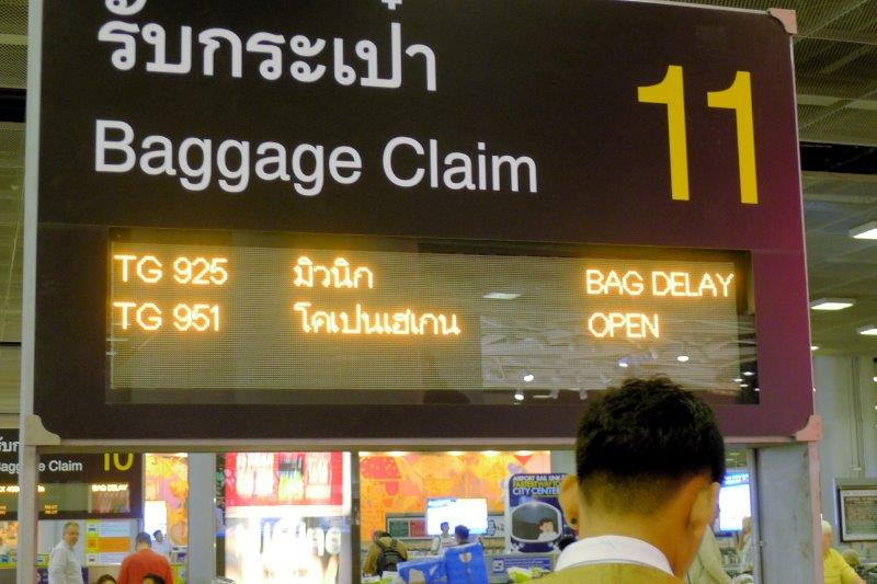 Thai delayed luggage rain