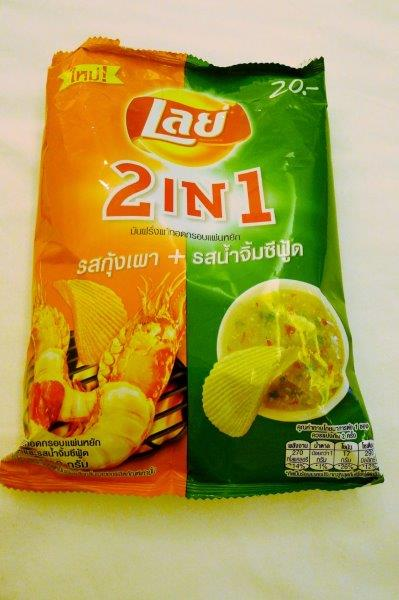 Shrimp Chips and Green curry chips in the same bag