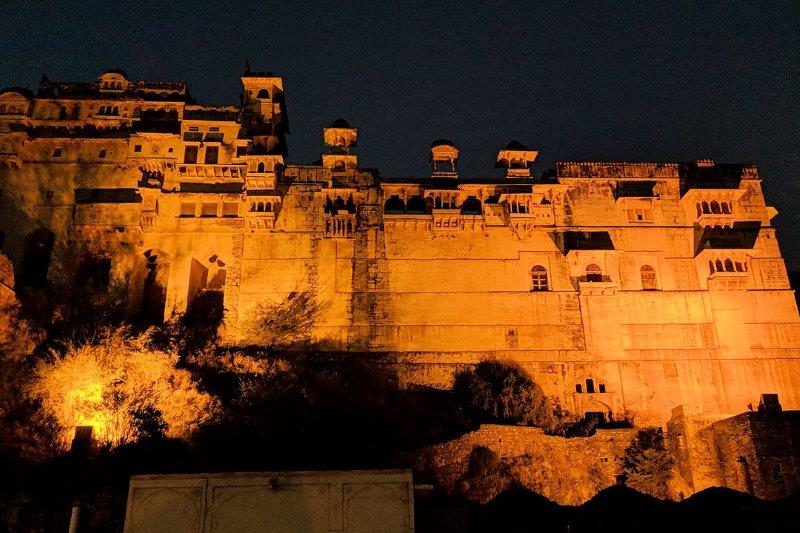 Nighttime view of the fort