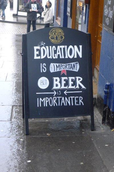 Oxford University beer sign