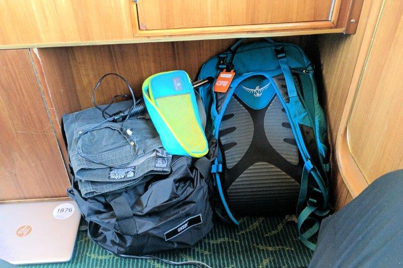 backpacks stored