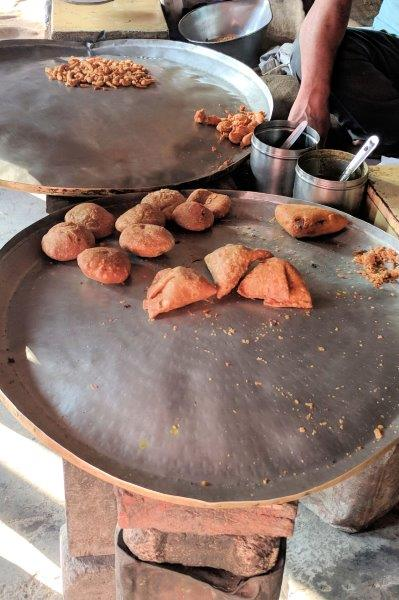 Samosas along the street
