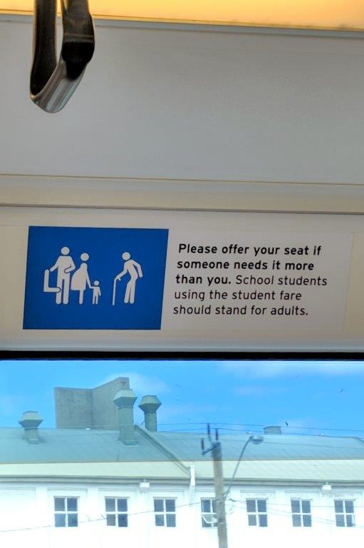 Perth Rail sign to give up seat