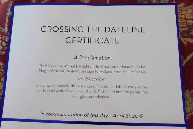 International Date Line Certificate