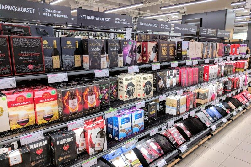 shelf full of wine in a box