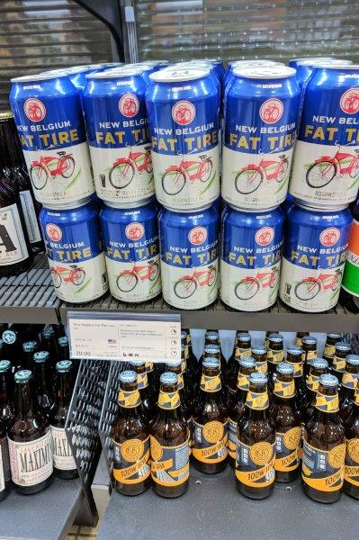Cans of Fat Tire beer