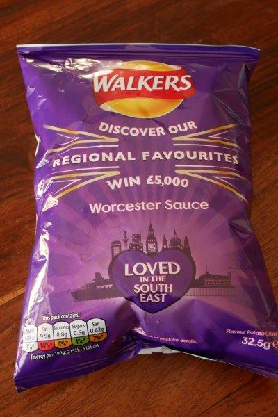 Worcester sauce flavored potato chips