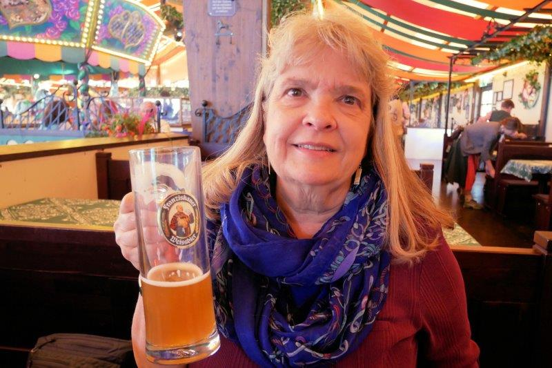 Susan with a beer at Marstall