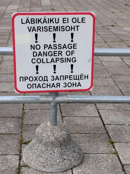 Danger of Collapsing sign