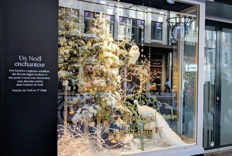 Christmas tree decorated in store window