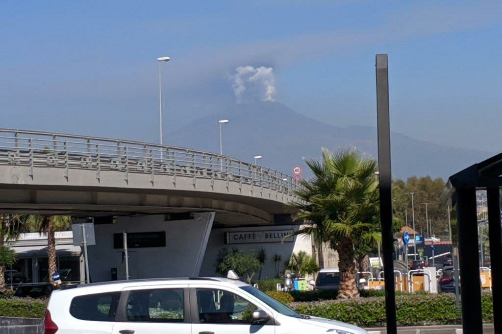Mount Etna spewing smoke