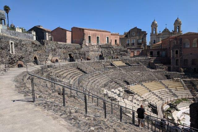 Greek theater in middle of Catania