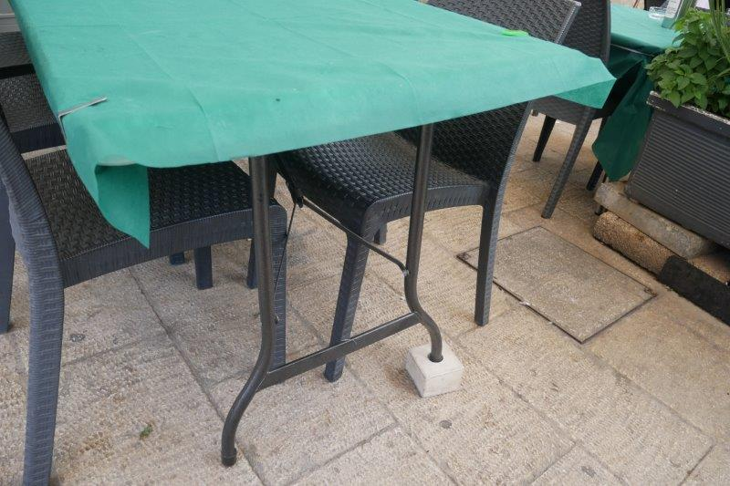 Table with legs on a block to level the table